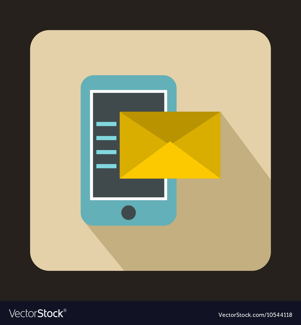 Envelope and smartphone icon flat style