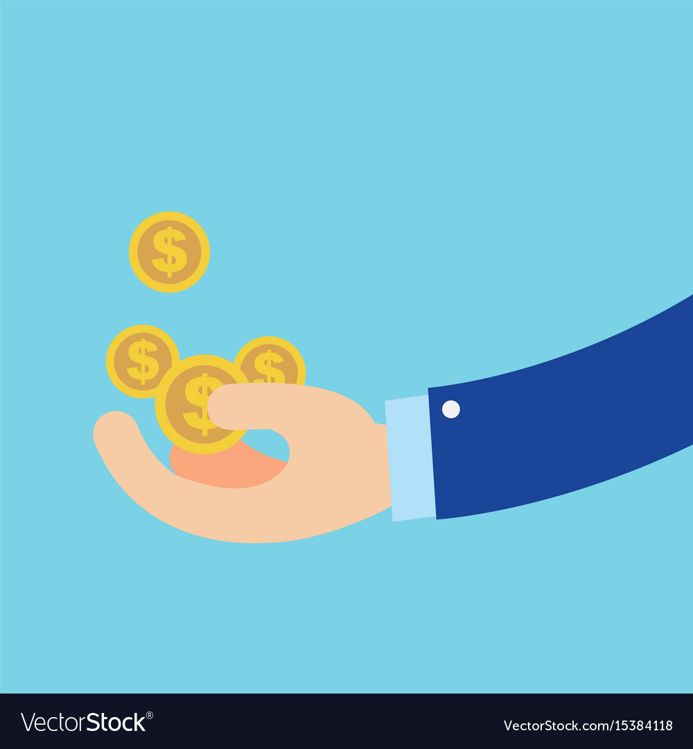 Flat hand earn coins symbol about business