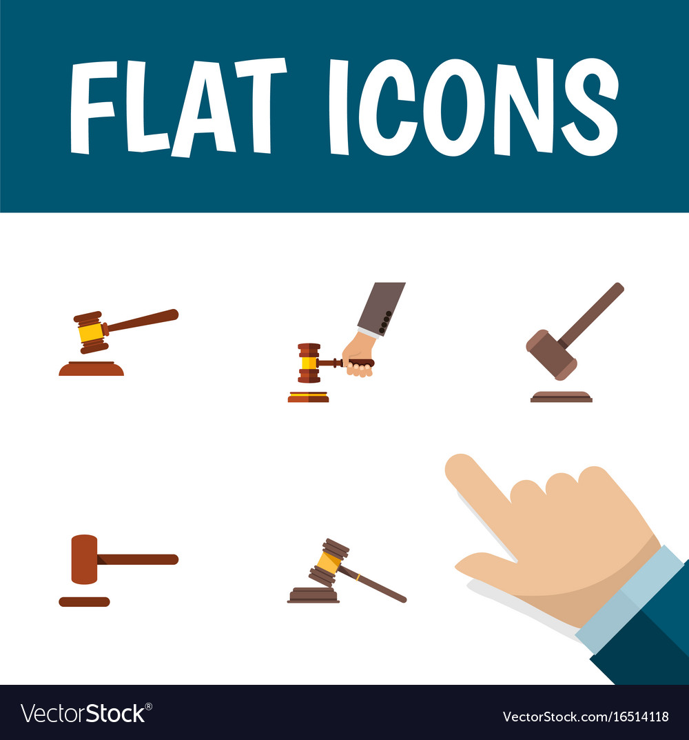 Flat icon lawyer set of crime court tribunal and