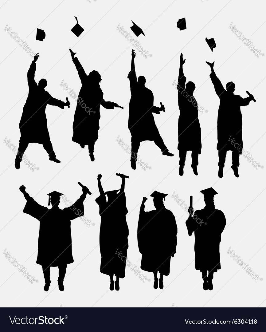 Graduation Silhouettes Royalty Free Vector Image