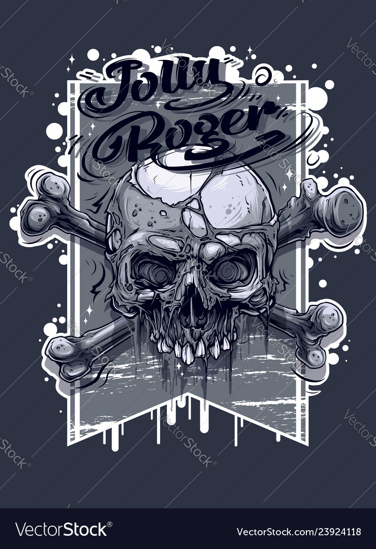 Graphic human skull with crossed bones