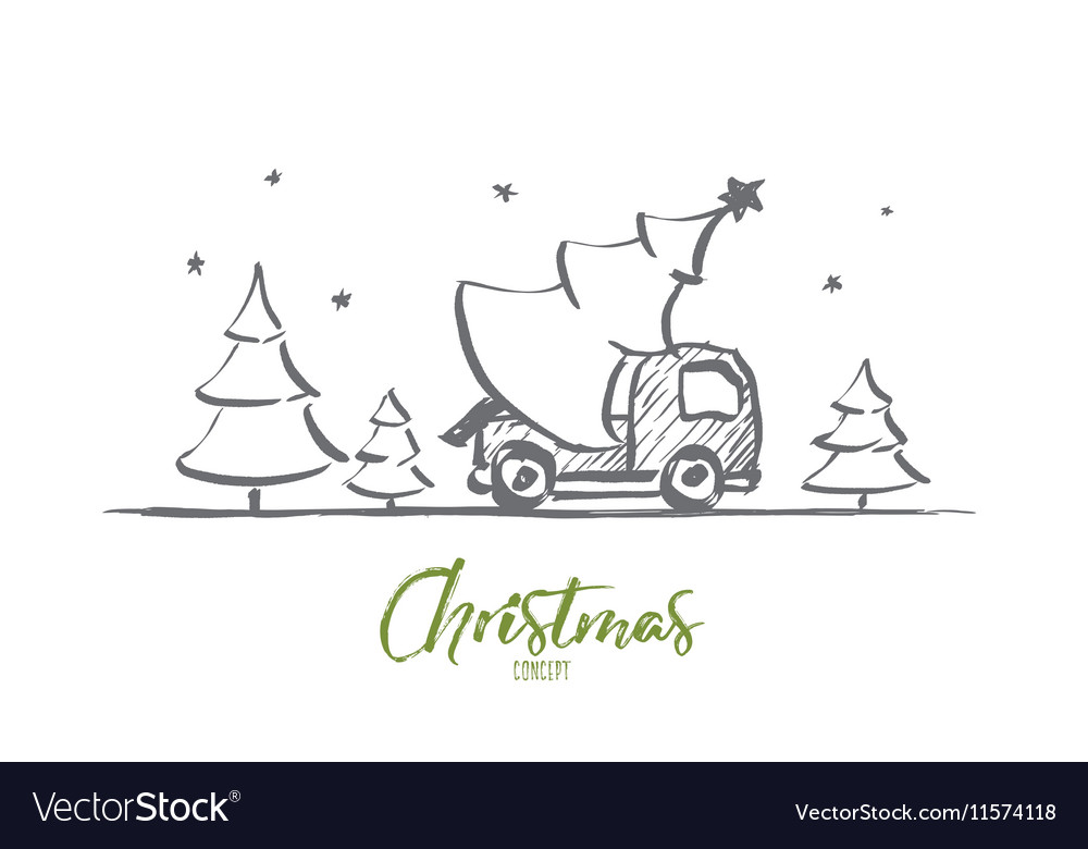 Hand drawn Christmas tree in car with lettering vector image