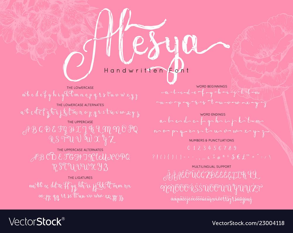 Handwritten alphabet stylish lettering font