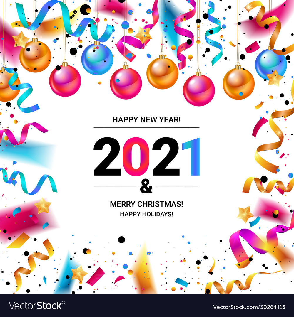 Happy new year 2021 confetti banners