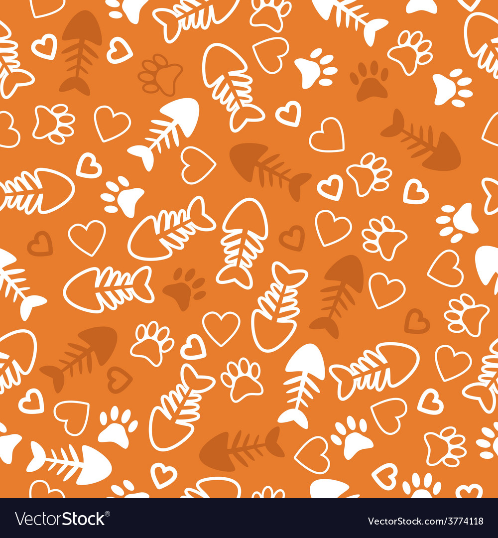 Seamless pattern with cat paw prints fish bone