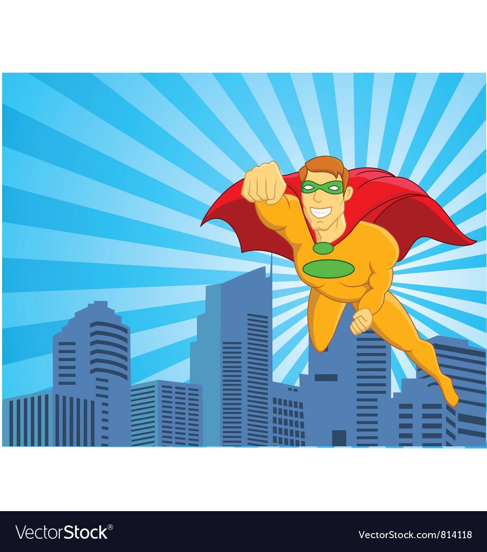 Superhero flying over city
