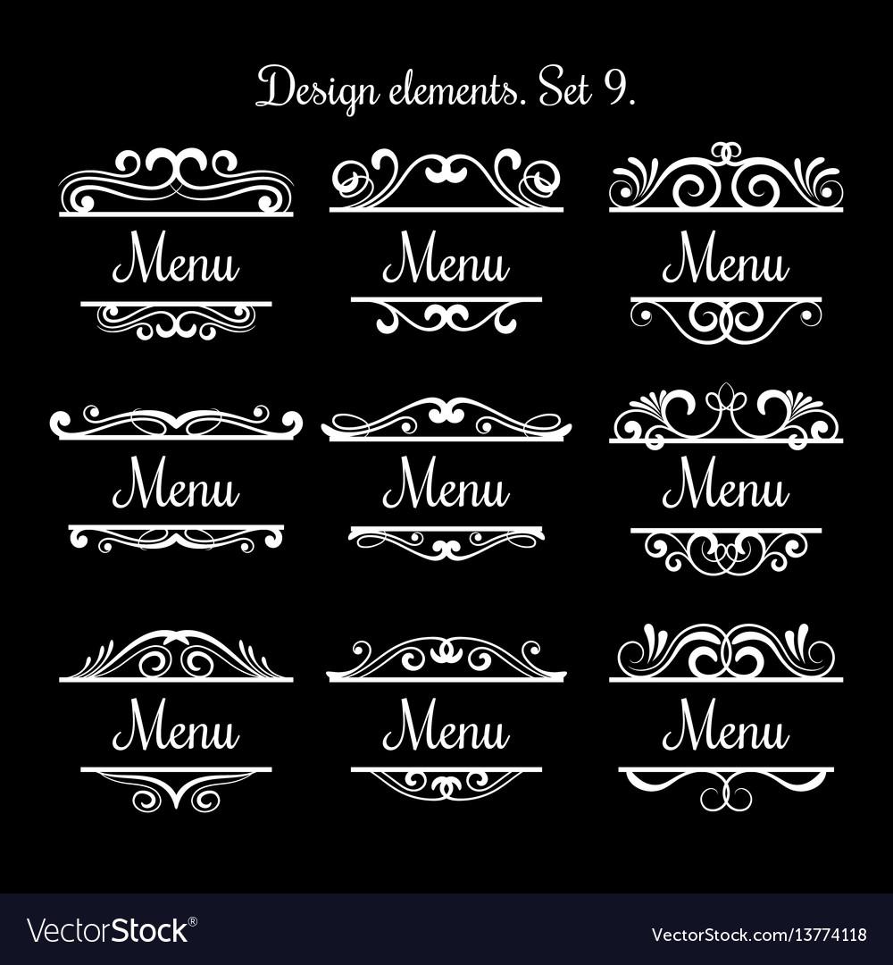 Swirl menu text labels flourish vintage
