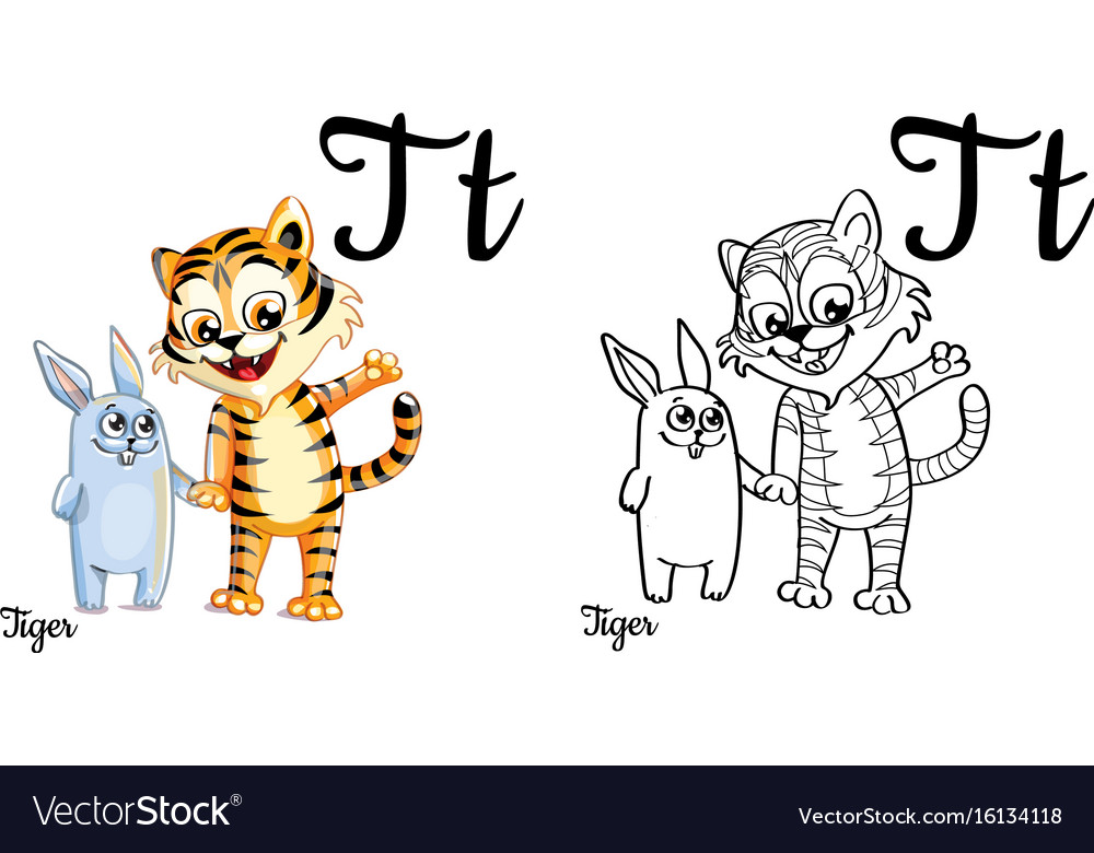 Tiger Alphabet Letter T Coloring Page Vector Image
