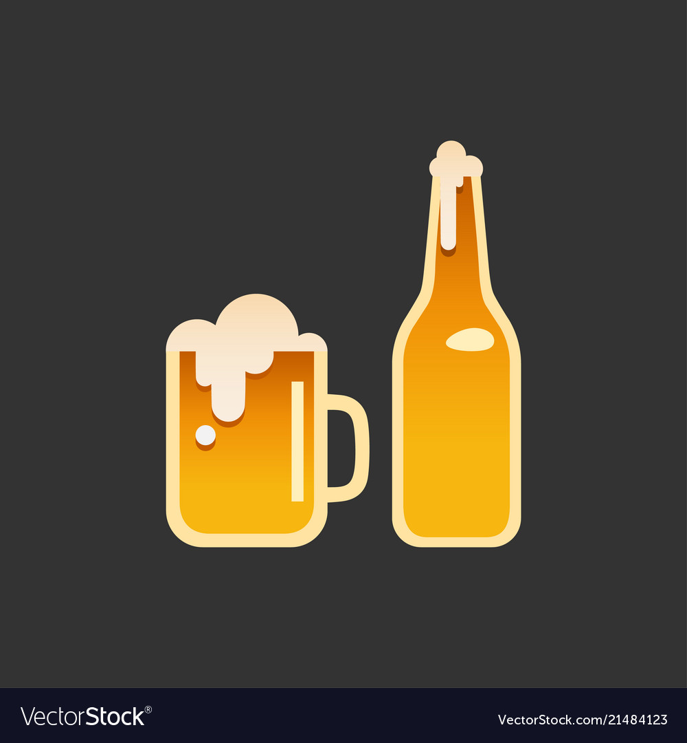 A glass and a bottle of beer