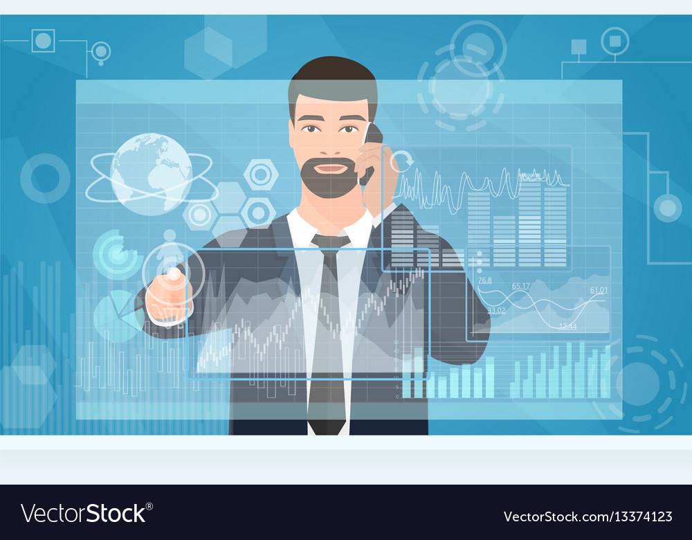Businessman working using virtual media interface vector image