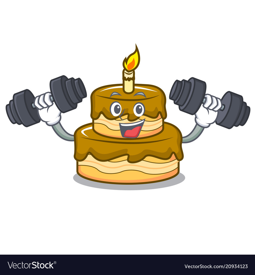 Fitness Birthday Cake Character Cartoon Vector Image