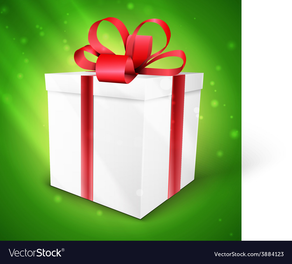 Gift box with bow isolated on green
