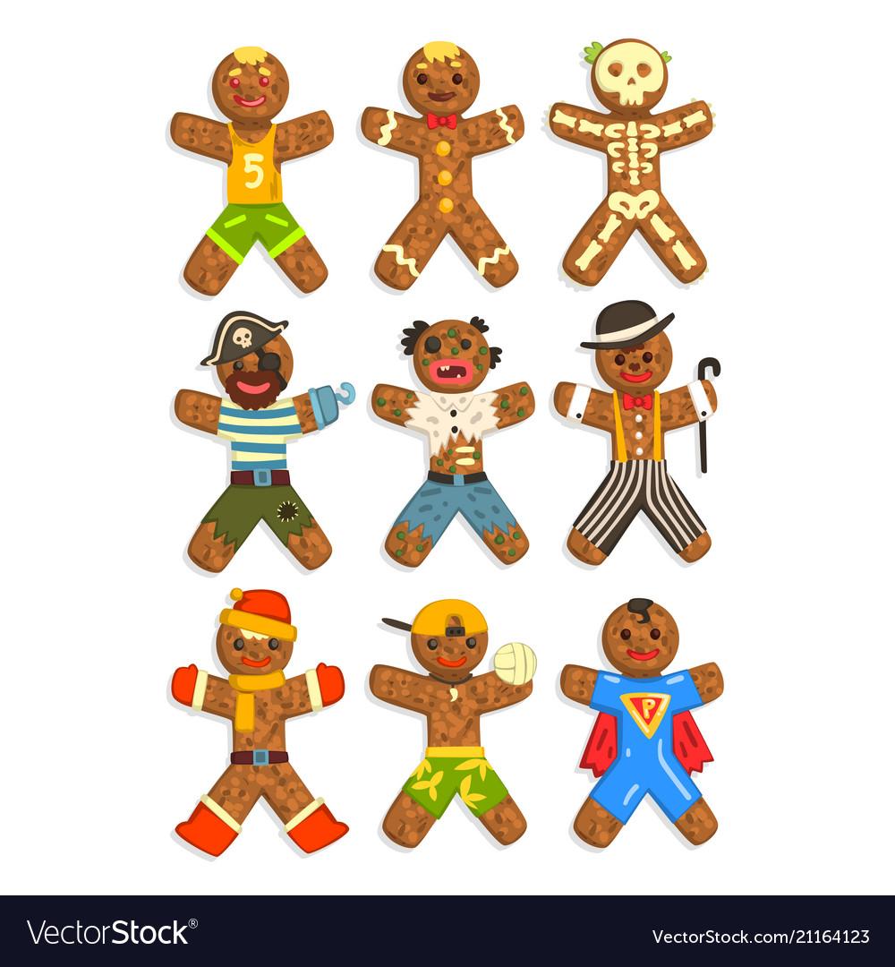 Gingerbread men wearing different costumes set vector image