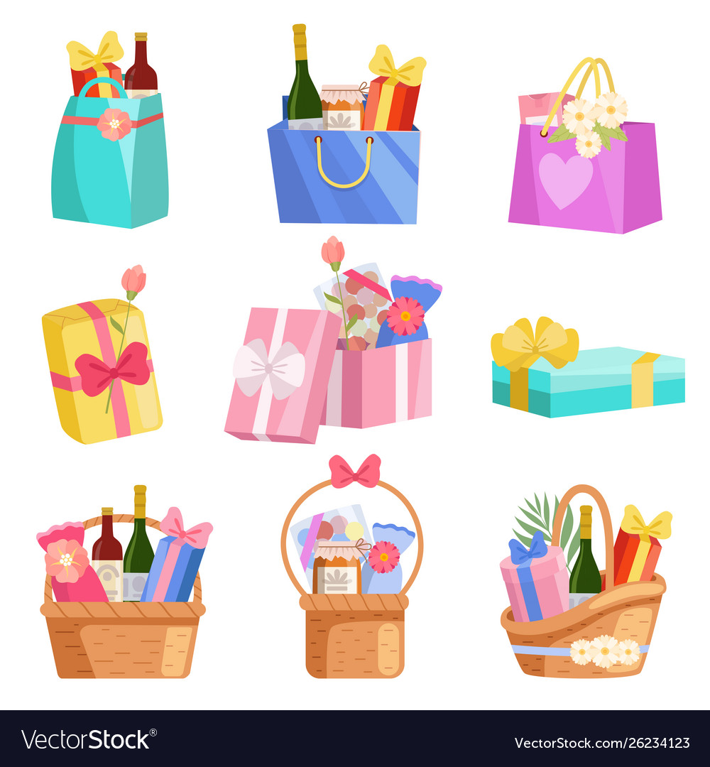 Holiday presents set paper shopping bags baskets