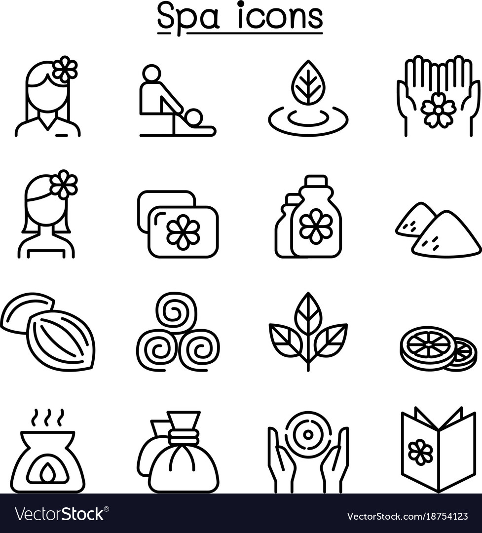 Massage spa alternative therapy icon set in thin vector image