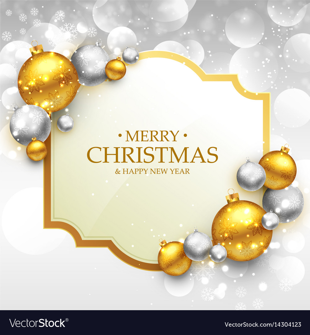 Merry christmas greeting card template with gold Vector Image
