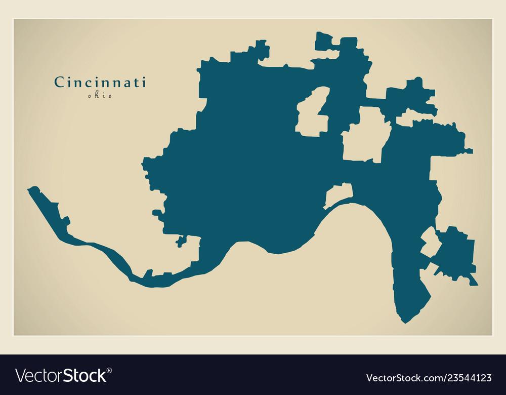 Modern City Map Cincinnati Ohio City Of The Usa Vector Image