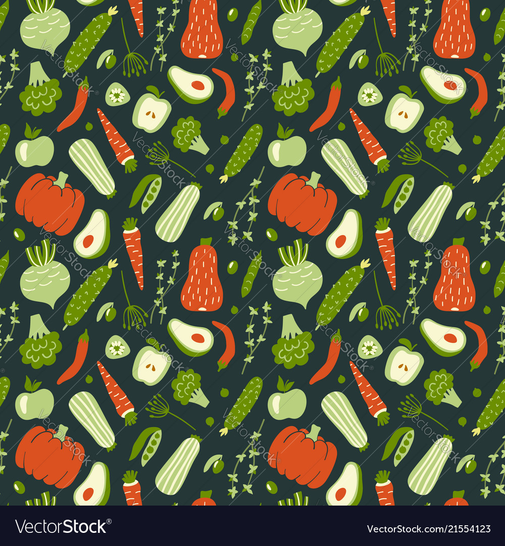 Modern seamless pattern with hand drawn green and