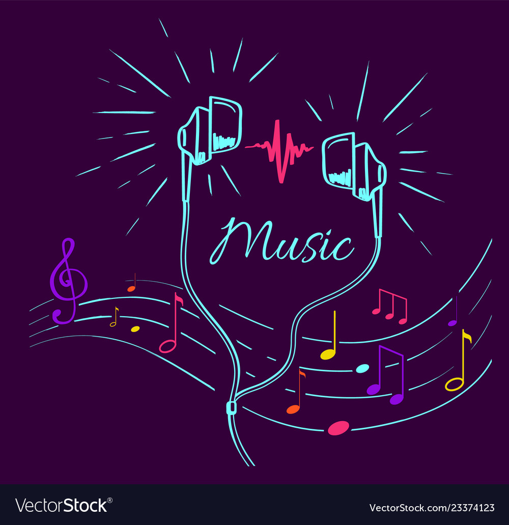 Music poster treble clef notes set and headphones
