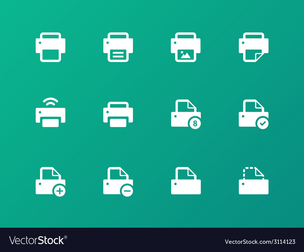 Printer icons on green background vector image