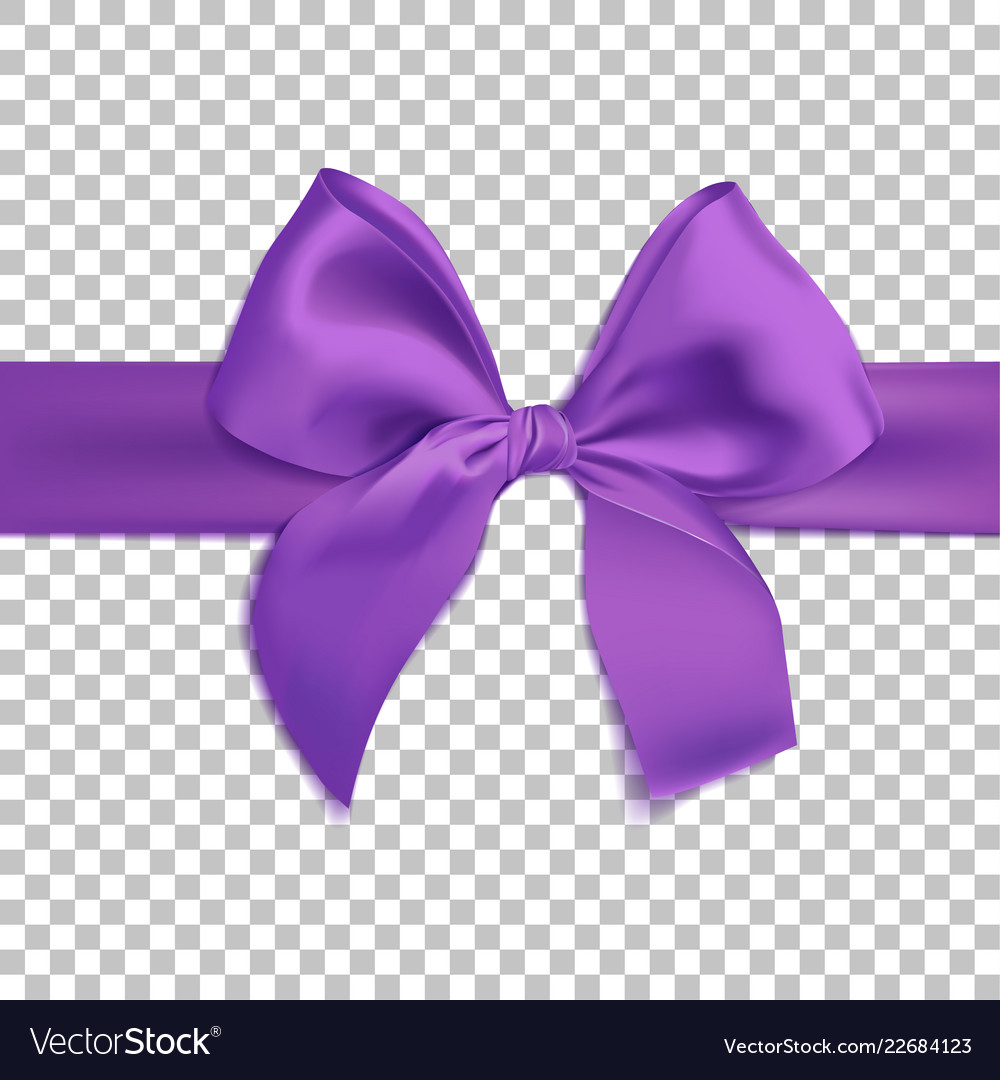 Realistic purple bow isolated on transparent