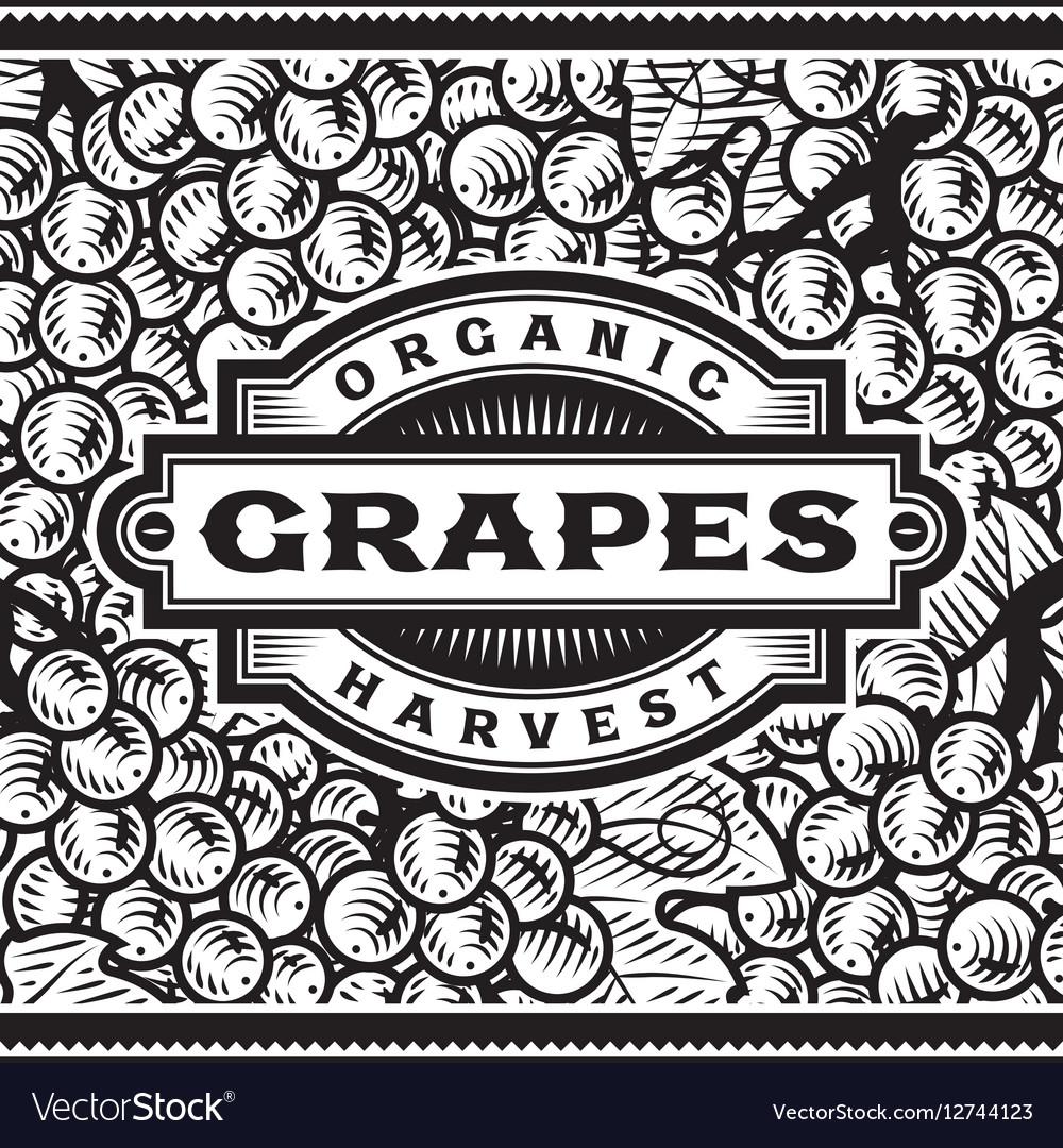 Retro Grapes Harvest Label Black And White