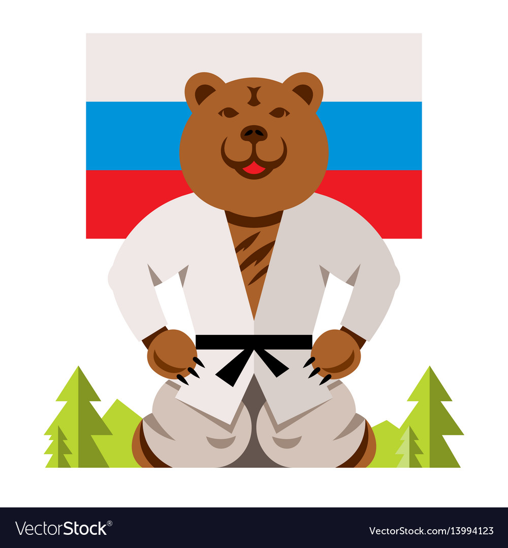 Russian bear humor concept flat style
