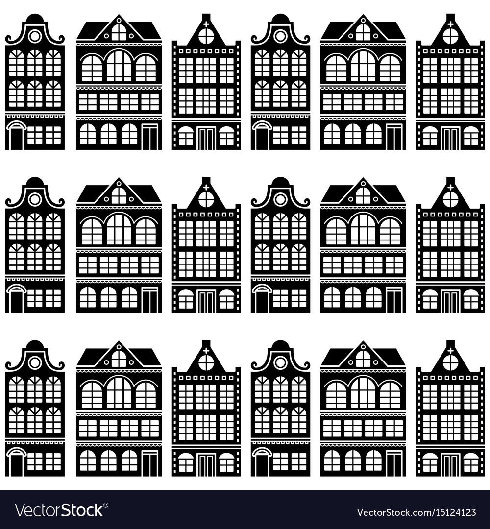 Seamless house pattern - dutch amsterdam houses