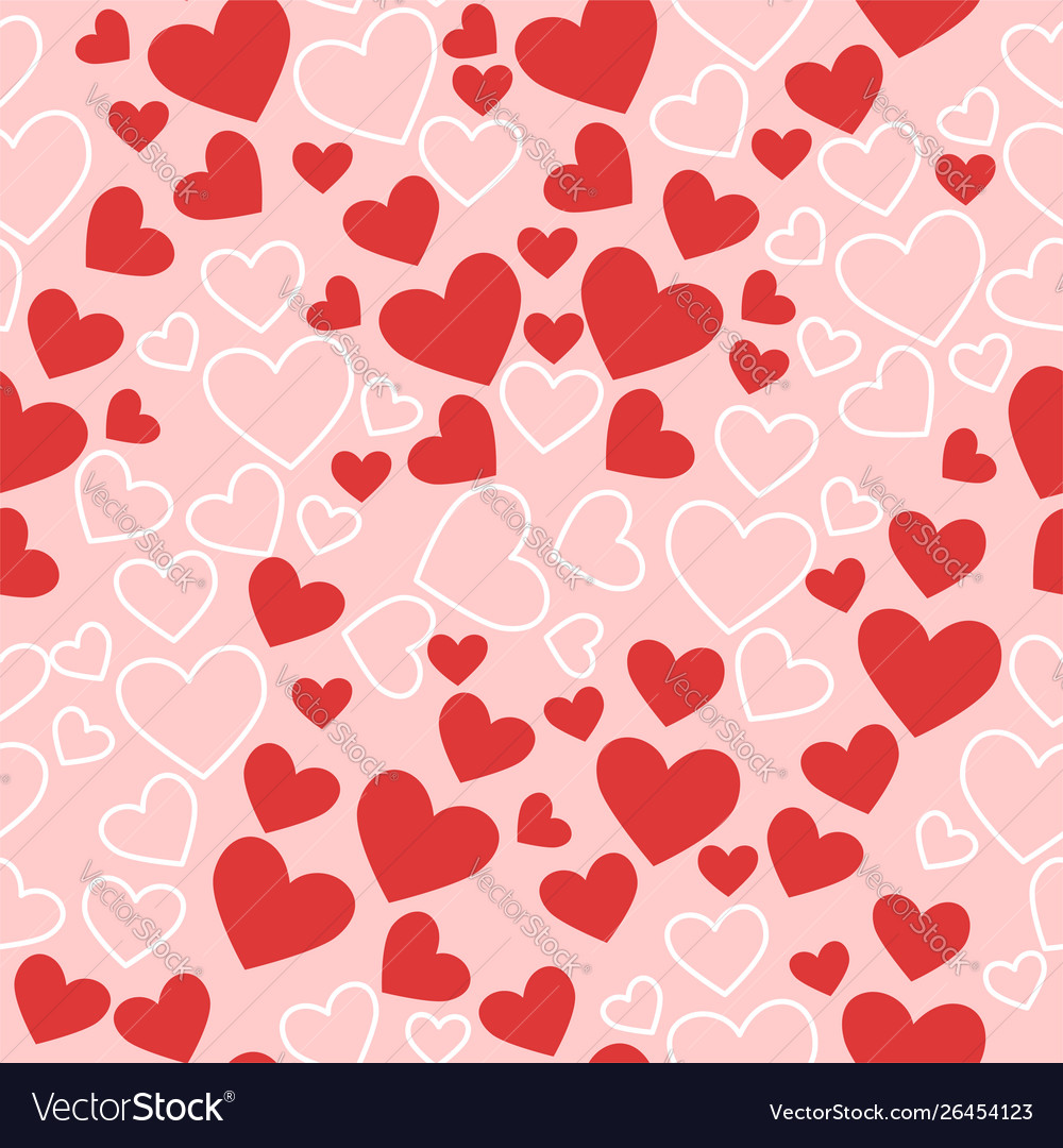Seamless texture with hearts in pink red