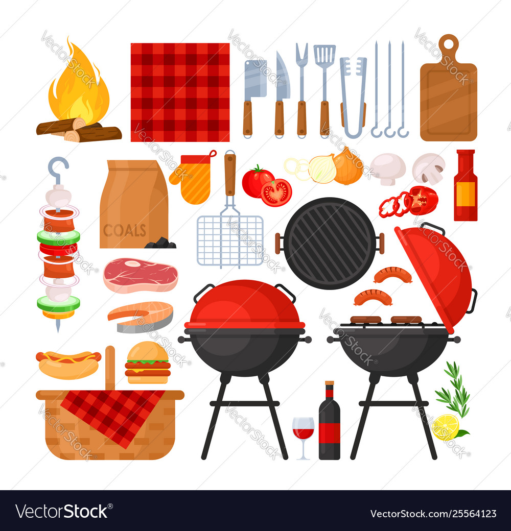 Set bbq party barbecue grill picnic