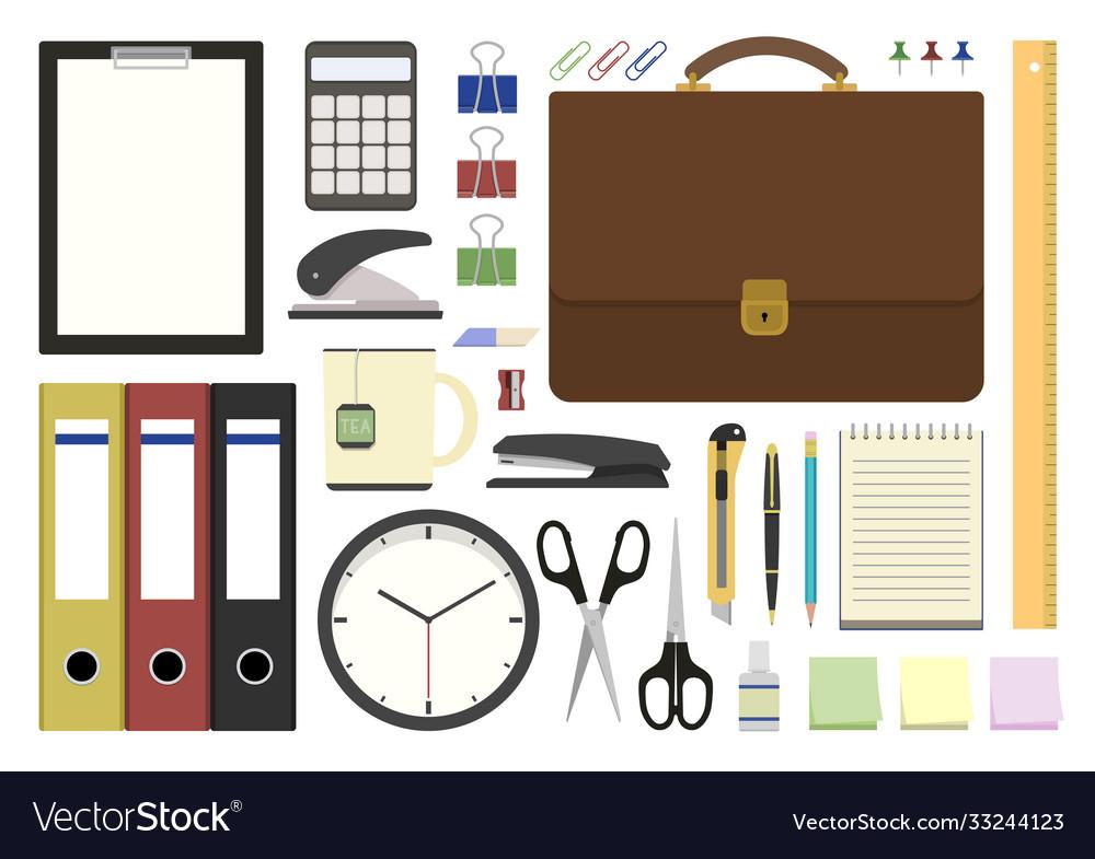 Set office supplies in flat design