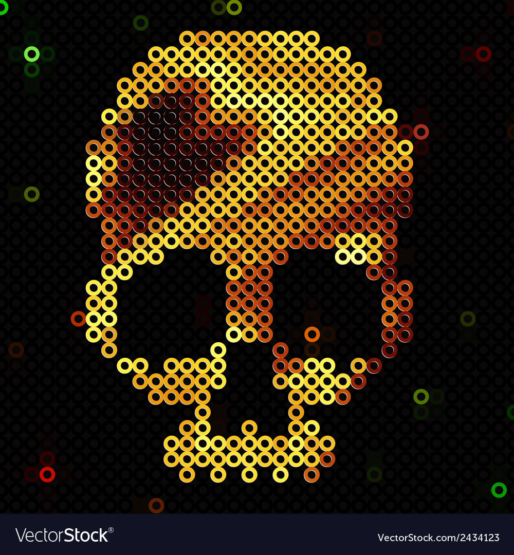 Skull gold beads sequins shiny