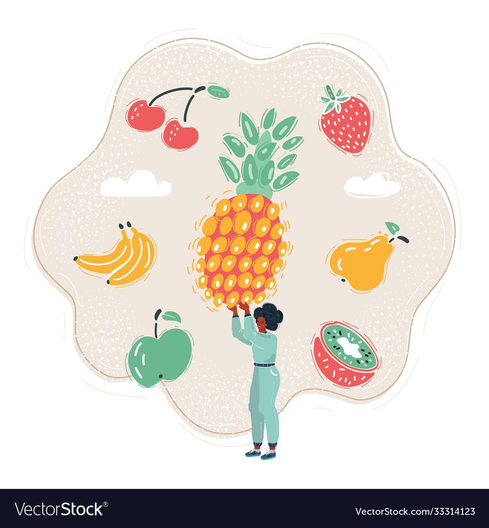 Woman get big fruit and run