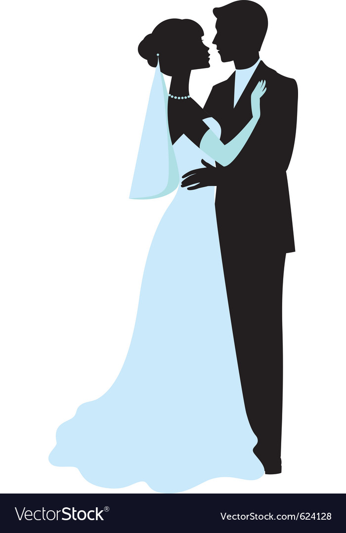 bride and groom silhouettes royalty free vector image rh vectorstock com bride and groom vector png bride and groom vector free