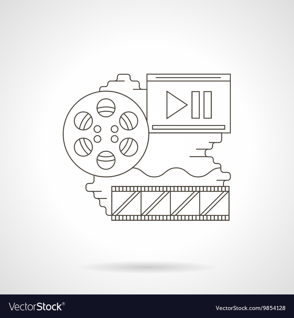 Cinema reel detailed line icon
