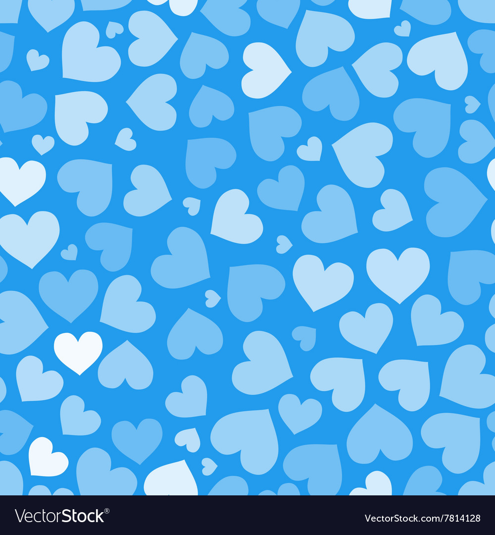 Hearts on blue seamless pattern