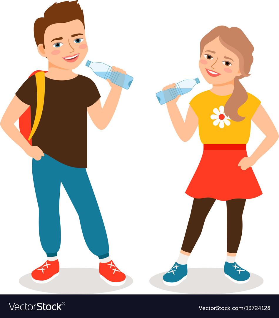 Kids drinking water vector image