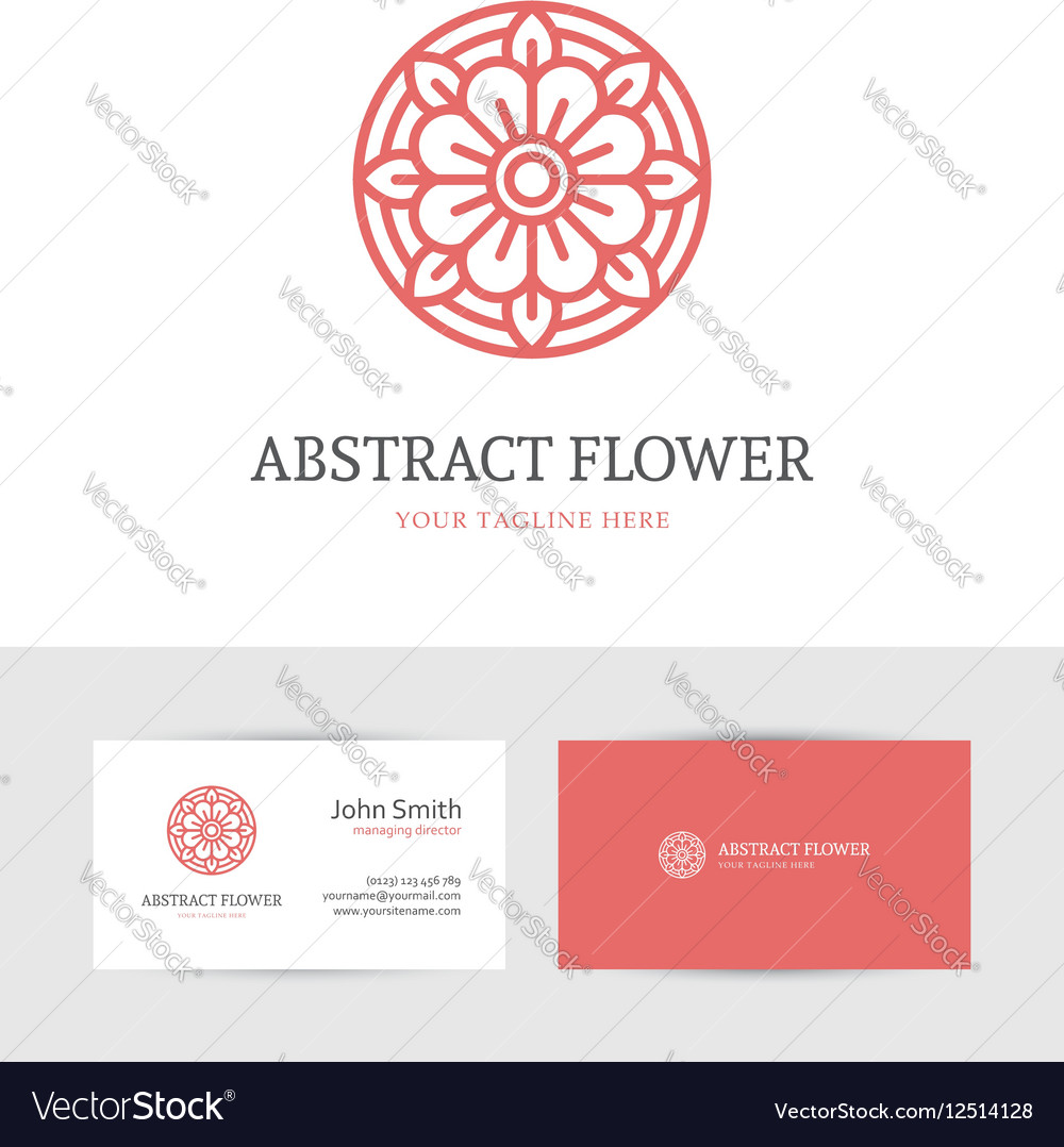Linear red flower logo vector image