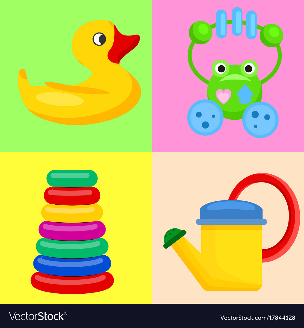 Plastic toys for children on colorful backgrounds