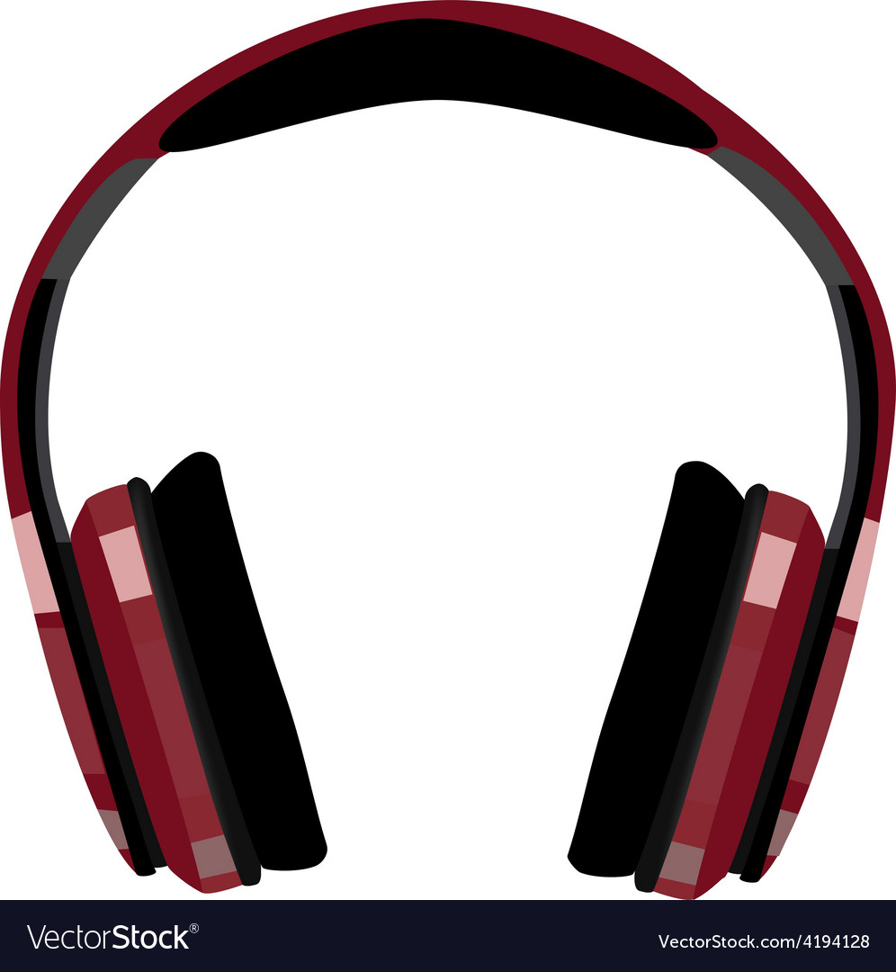 Red headphones Royalty Free Vector Image - VectorStock