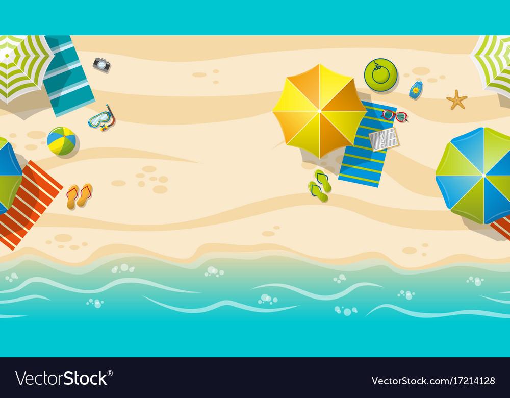 Seamless beach resort with colorful beach