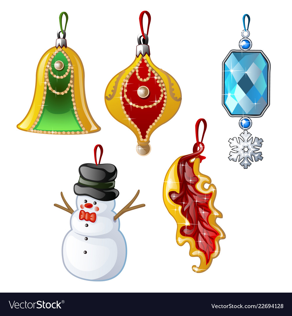 Set of multicolored christmas decorations isolated