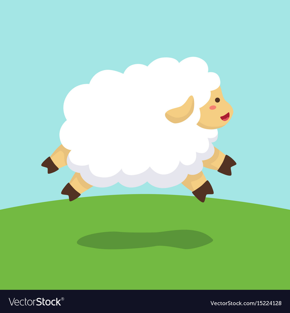 Sheep jumping on field background