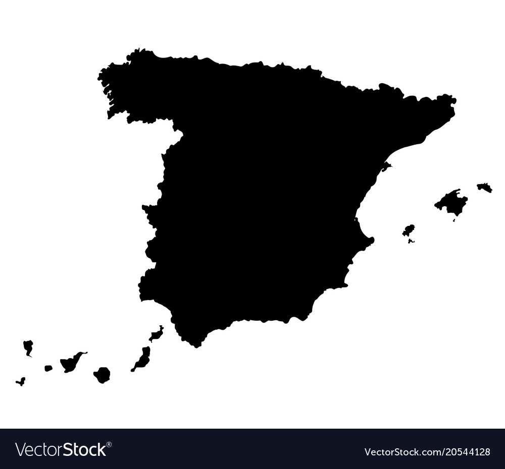 Spain map outline Royalty Free Vector Image   VectorStock