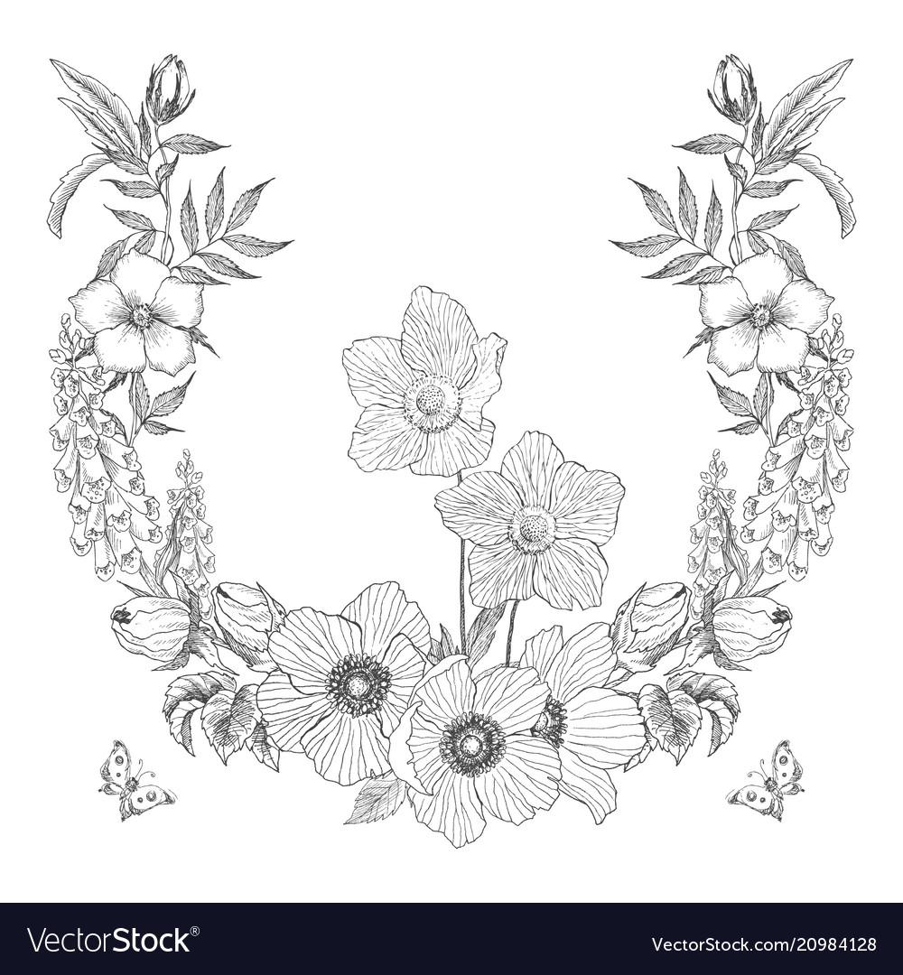 Vintage frame border monogram floral ornament with