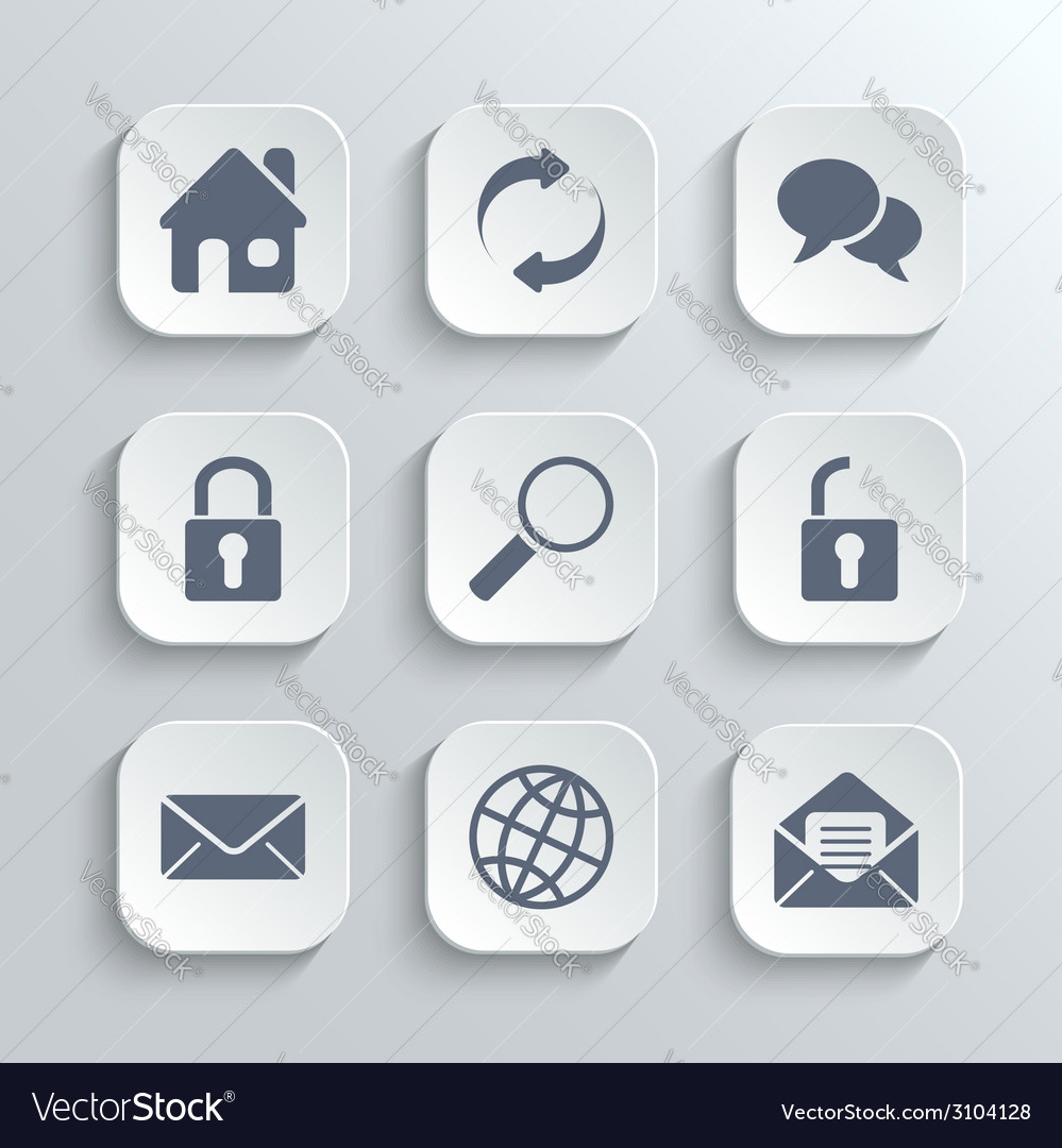 Web icons set - white app buttons
