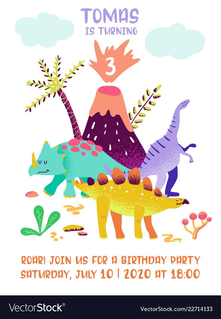 Baby birthday invitation card with funny dinosaur