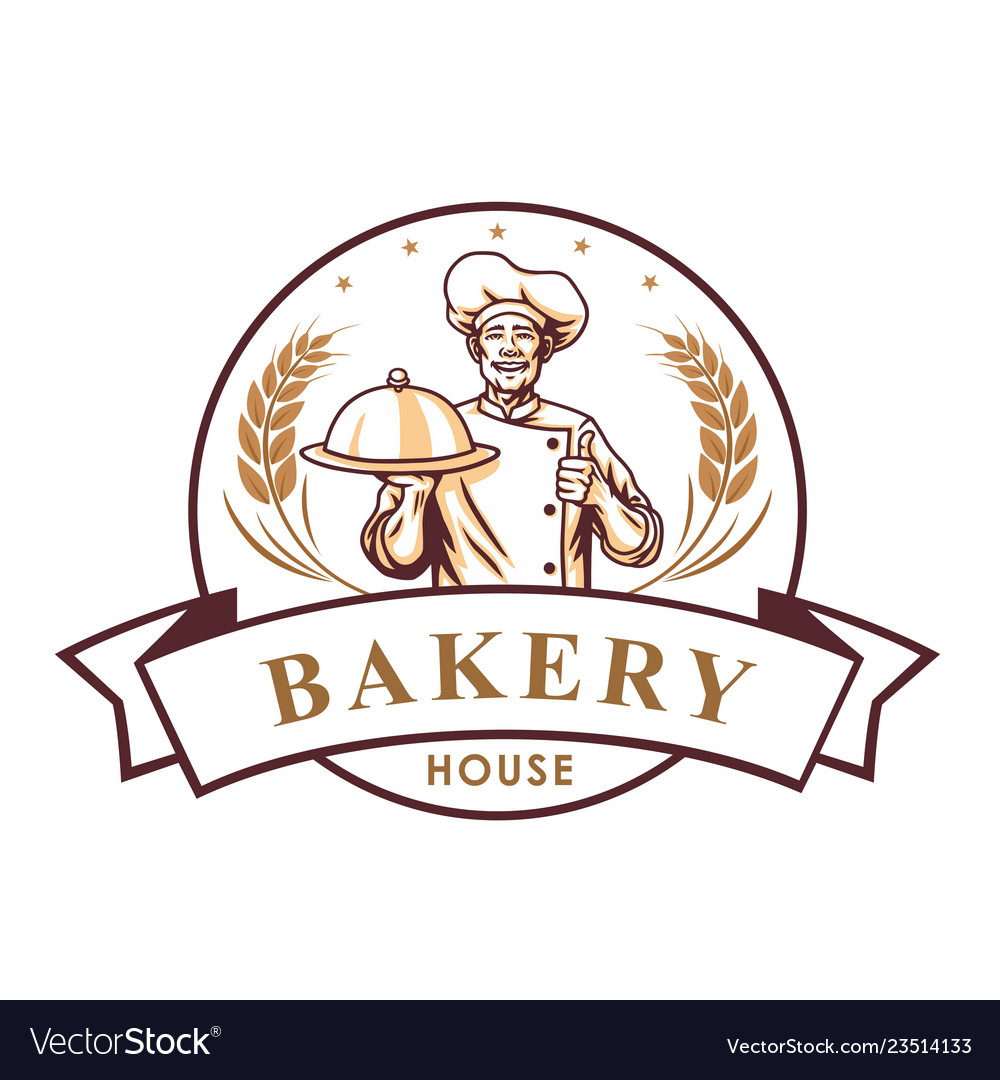 Chef bakery shop logo sign template