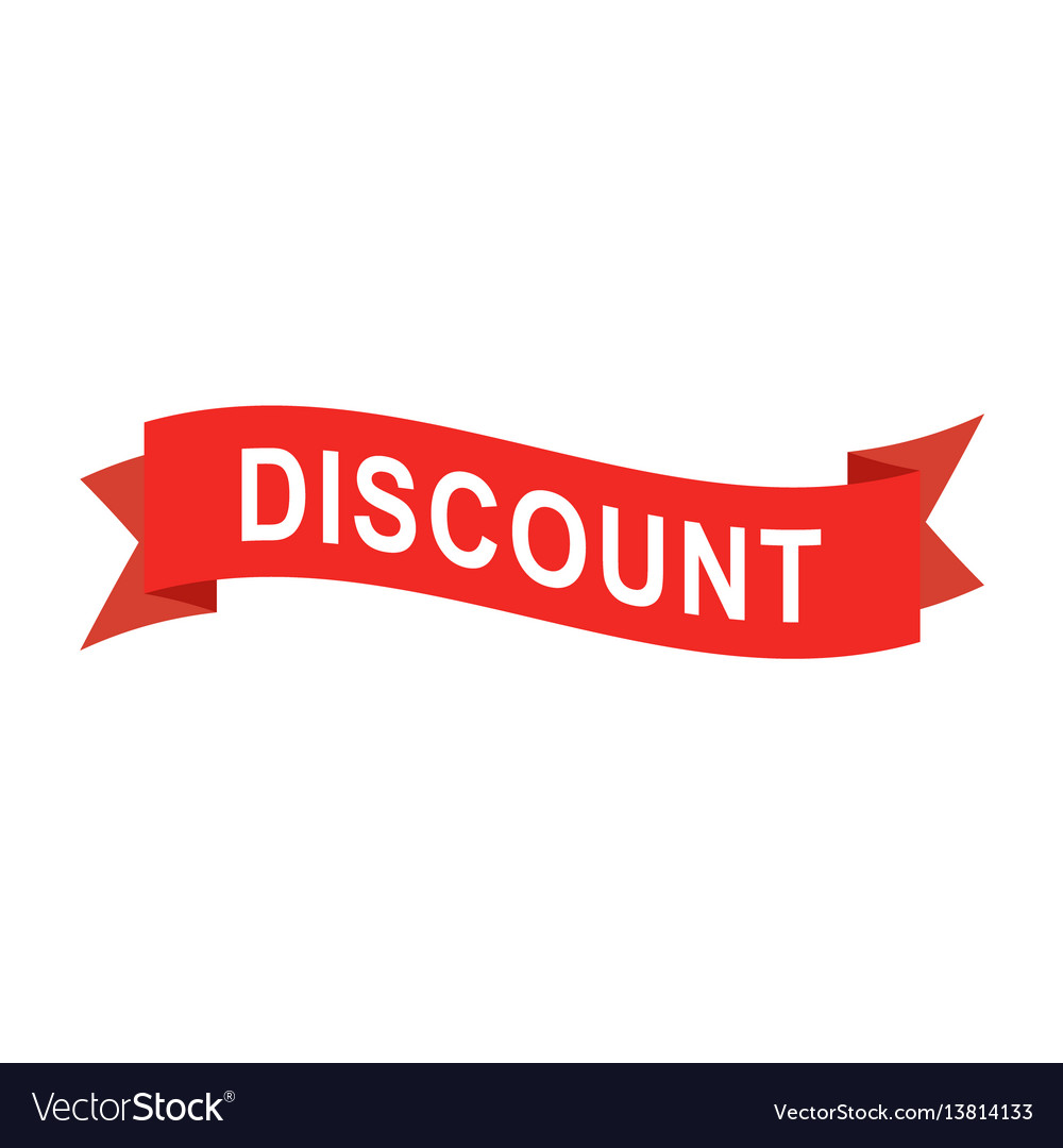 Discount text on red ribbon