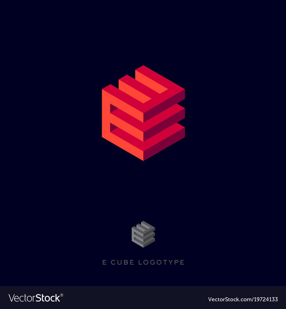 Inevitabile restate naso  E cube red logo building logo e monogram Vector Image